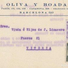 Sellos: OLIVA Y BOADA: BARCELONA A VITORIA. 1941. Lote 173015824
