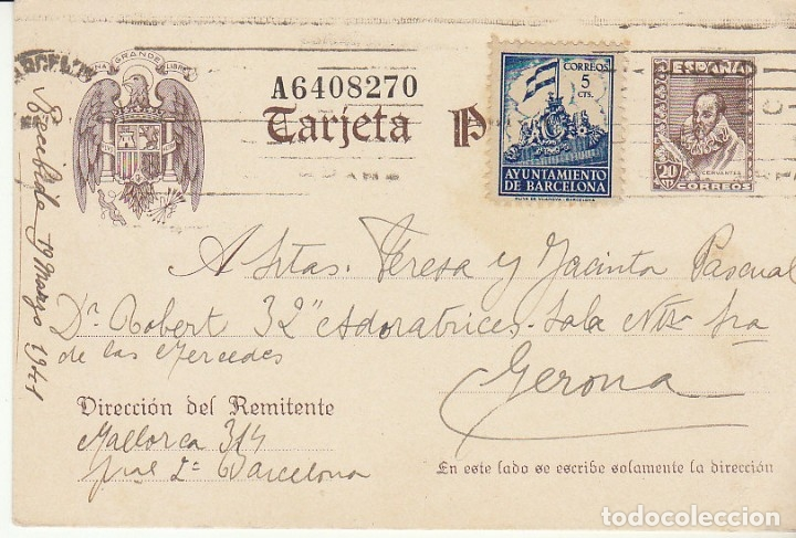 CERVANTES : BARCELONA A GERONA. 1941. (Sellos - España - Tarjetas)