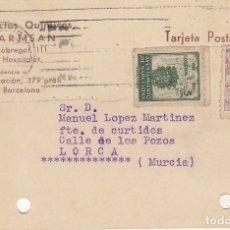 Sellos: T.P.: BARCELONA A LORCA (MURCIA). 1945.. Lote 173046153