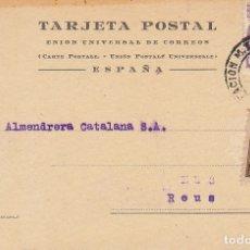 Sellos: T.P.: BARCELONA A REUS. 1944. ALMENDRERA CATALANA S.A.. Lote 173046302