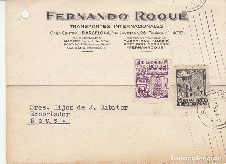BARCELONA A REUS.1944. FERNANDO ROQUÈ. (Sellos - España - Tarjetas)