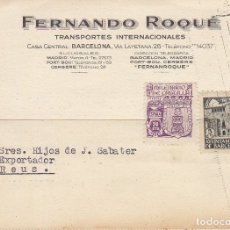 Sellos: BARCELONA A REUS.1944. FERNANDO ROQUÈ.. Lote 173161610