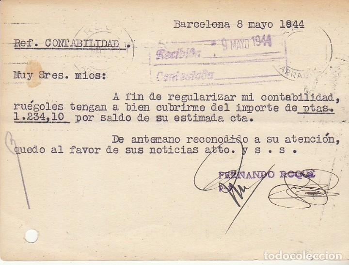 Sellos: BARCELONA a REUS.1944. FERNANDO ROQUÈ. - Foto 2 - 173161610