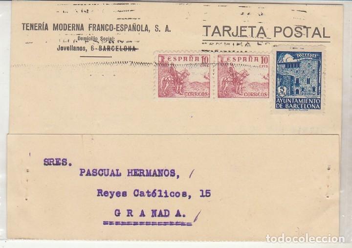 BARCELONA A GRANADA.1943. TENERIA MODERNA FRANCO-ESPAÑOLA, S.A. (Sellos - España - Tarjetas)