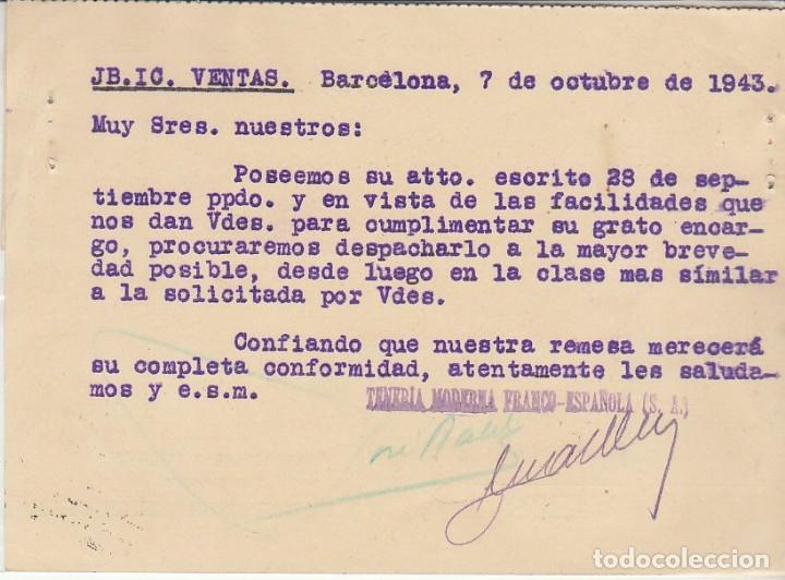 Sellos: BARCELONA a GRANADA.1943. TENERIA MODERNA FRANCO-ESPAÑOLA, S.A. - Foto 2 - 173162182