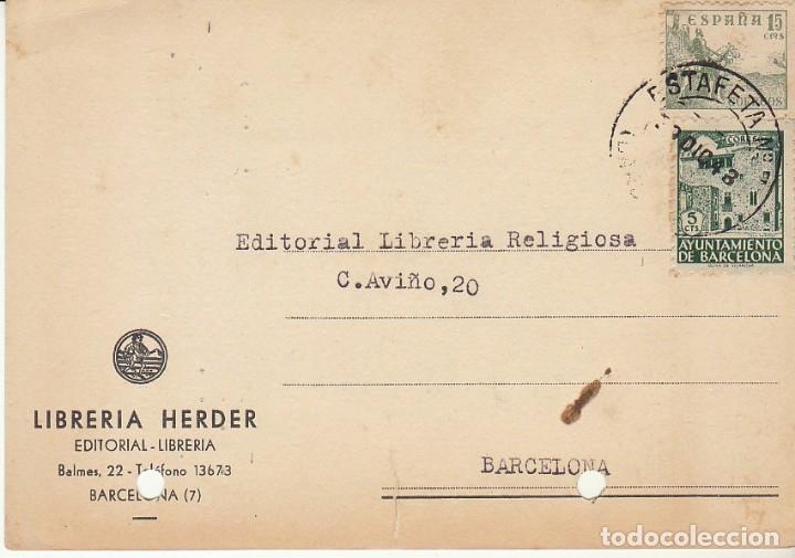 BARCELONA. 1943. LIBRERIA HERDER. (Sellos - España - Tarjetas)