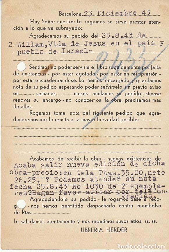 Sellos: BARCELONA. 1943. LIBRERIA HERDER. - Foto 2 - 173162248