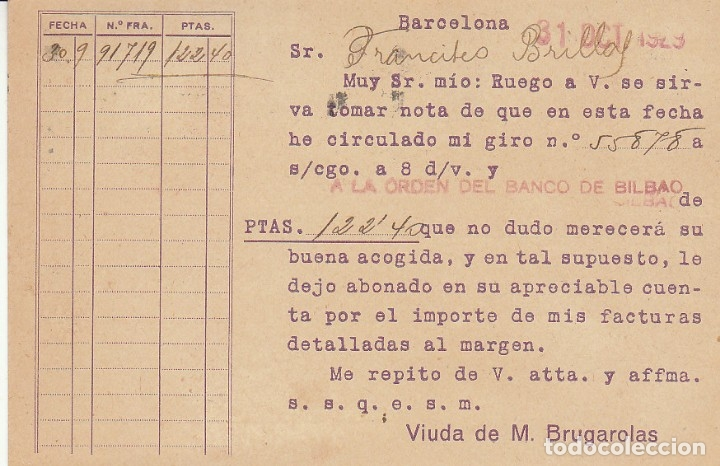 Sellos: BARCELONA a BLANES (GERONA).1929. LUBRIFICANTES - AGUILA- - Foto 2 - 173162383