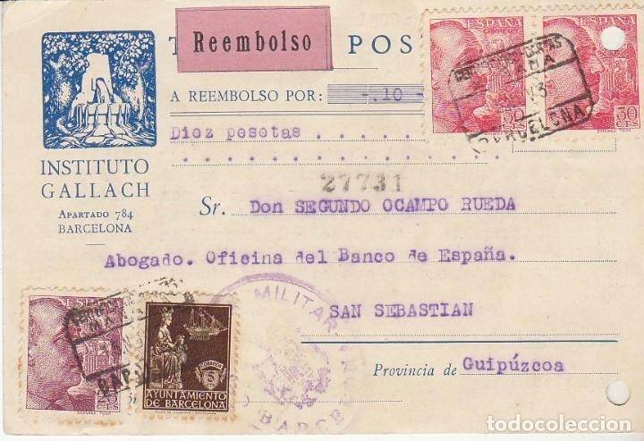 BARCELONA A SAN SEBASTIAN. 1939.INSTITUTO GALLACH. (Sellos - España - Tarjetas)