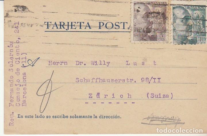 BARCELONA A ZÜRICH. 1940. (Sellos - España - Tarjetas)