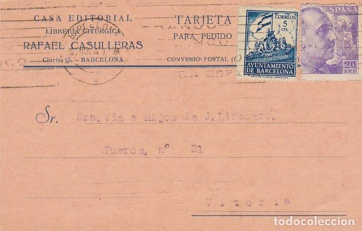 BARCELONA A VITORIA. 1940. (Sellos - España - Tarjetas)