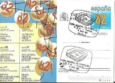 TARJETA POSTAL ESPAÑA 82 MATASELLOS ESPECIAL COPA MUNDIAL DE FUTBOL PARTIDO RFA FRANCIA 8 JULIO 82 S (Sellos - Extranjero - Tarjetas)