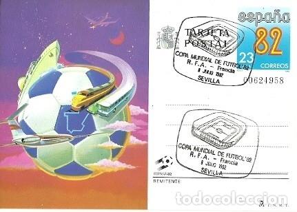 TARJETA POSTAL ESPAÑA 82 MATASELLOS ESPECIAL COPA MUNDIAL DE FUTBOL PARTIDO RFA FRANCIA 8 JULIO SEVI (Sellos - Extranjero - Tarjetas)