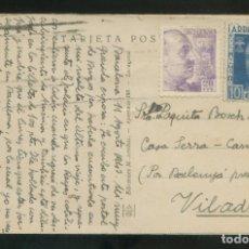 Sellos: TP CIRCULADA BARCELONA A VILADRAU, AGOSTO 1943. VIÑETA FALANGISTA.. Lote 12891668
