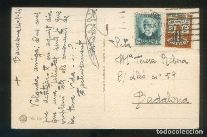 TP CIRCULADA BARCELONA A BADALONA, OCT. 1934. SELLO AYUNTAMIENTO BARCELONA. (Sellos - España - Tarjetas)