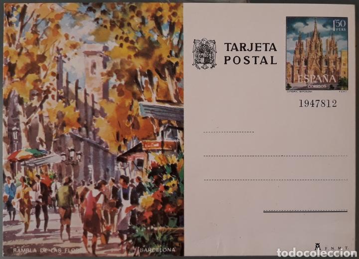 TARJETA POSTAL RAMBLA DE LAS FLORES BARCELONA (Sellos - España - Tarjetas)