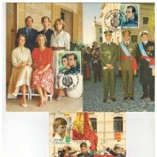 Sellos: LOTE 3 TARJETAS POSTALES FAMILIA REAL CON MOTIVO 10 AÑOS DE REINADO 1985. Lote 176127035