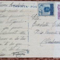 Sellos: TARJETA POSTAL CON SELLO AYUNTAMIENTO BARCELONA Y SELLO MILENARIO DE CASTILLA. Lote 176425335