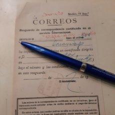 Sellos: RESGUARDO CERTIFICADO CORREOS RIBADEO LUGO. Lote 176593910