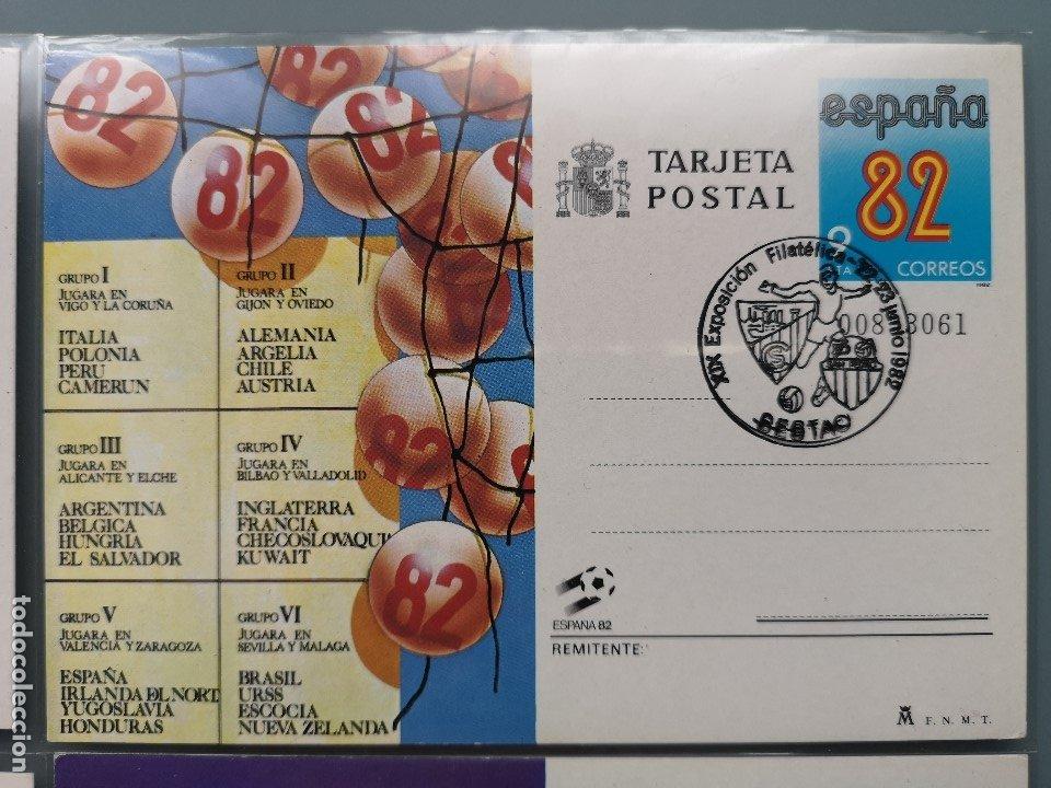Sellos: ENTERO POSTAL 4 TARJETAS PRIMER DIA CIRCULACION MUNDIAL FUTBOL ESPAÑA 82 MATASELLOS SESTAO PERFECTA - Foto 3 - 176732128