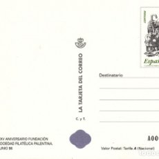 Timbres: LA TARJETA DEL CORREO NUM 34 -1 XXV ANIV. FUNDACION SOC. FILATELICA PALENTINA - PALENCIA - 1998. Lote 177292317