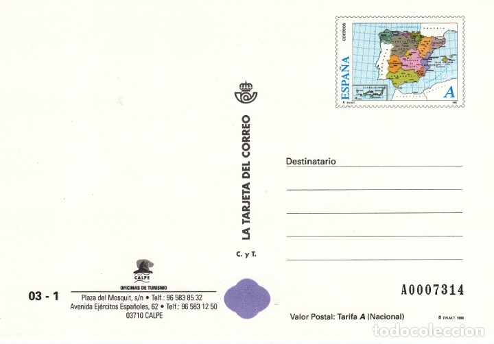 LA TARJETA DEL CORREO NUM 03-1 CALPE 1998 (Sellos - Extranjero - Tarjetas)
