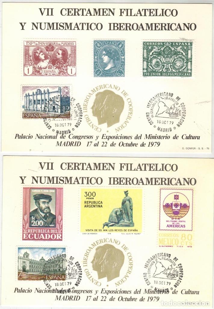 PAREJA DE TARJETAS EMITIDAS EN VII CERTAMEN FILATELICO IBEROAMERICANO (Sellos - Extranjero - Tarjetas)