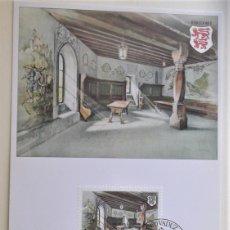 Sellos: LIECHTENSTEIN. TM 724 CASTILLO DE GUTENBERG: LA SALA DE LOS CABALLEROS. 1981. MATASELLO PRIMER DÍA.. Lote 178585033
