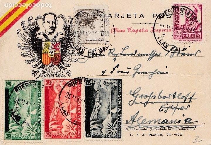 TARJETA POSTAL CON SIMBOLOS FRANQUISTAS Y CENSURA: PUERTO DE LA LUZ (LAS PALMAS). BONITOS LOCALES. (Sellos - España - Tarjetas)