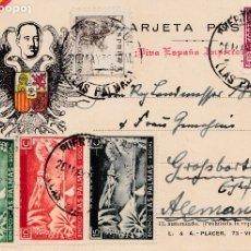 Sellos: TARJETA POSTAL CON SIMBOLOS FRANQUISTAS Y CENSURA: PUERTO DE LA LUZ (LAS PALMAS). BONITOS LOCALES.. Lote 181395936