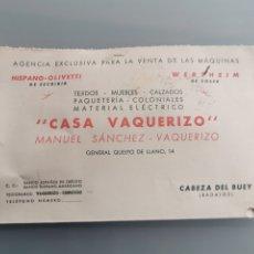 Sellos: CABEZA DEL BUEY BADAJOZ. TARJETAS COMERCIAL. Lote 181673058