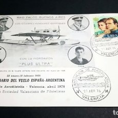 Sellos: TARJETA FILATELICA MATASELLOS ESPECIAL EXPOSICION DE AEROFILATELIA VALENCIA 1976. Lote 181960503
