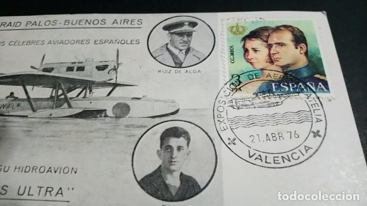 Sellos: TARJETA FILATELICA MATASELLOS ESPECIAL EXPOSICION DE AEROFILATELIA VALENCIA 1976 - Foto 3 - 181960503