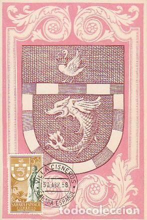 SAHARA EDIFIL 130, ESCUDO DE VILLA CISNEROS, TARJETA MÁXIMA VILLA CISNEROS 30-4-1958 RARA (Sellos - Extranjero - Tarjetas Máximas)