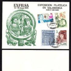 Selos: TARJETA CONMEMORATIVA EXFILSA 79 SALAMANCA. Lote 190829371