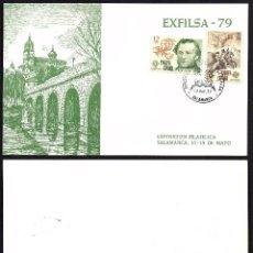 Selos: TARJETA EXFILSA 79 SALAMANCA CON MATASELLOS CONMEMORATIVO. Lote 191892581