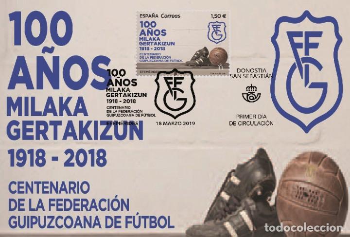 SPAIN 2019 - CENTENARY FEDERACIÓN GUIPUZCOANA DE FÚTBOL MAXIMUM CARD (Sellos - Extranjero - Tarjetas Máximas)