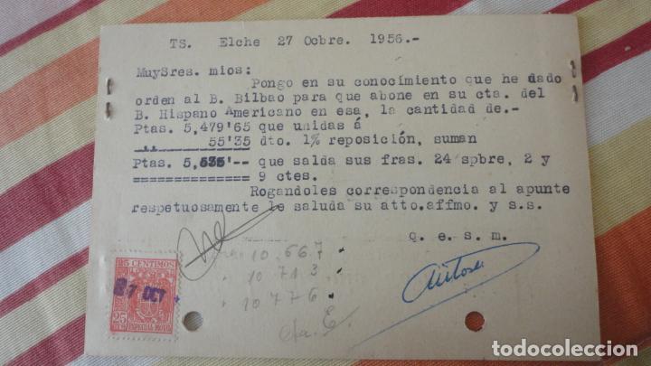 Sellos: ANTIGUA TARJETA.HIJO ANTONIO TORRES SANCHEZ.ALPARGATAS.ELCHE 1956.BONJORN PUIGBERENGUER MANRESA - Foto 2 - 194155682
