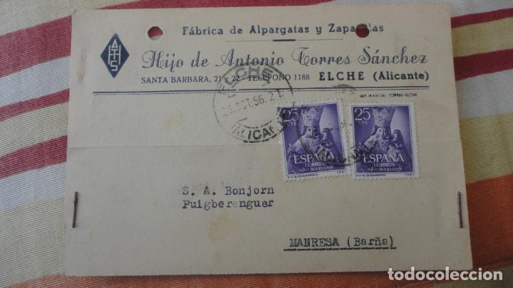ANTIGUA TARJETA.HIJO ANTONIO TORRES SANCHEZ.ALPARGATAS.ELCHE 1956.BONJORN PUIGBERENGUER MANRESA (Sellos - España - Tarjetas)