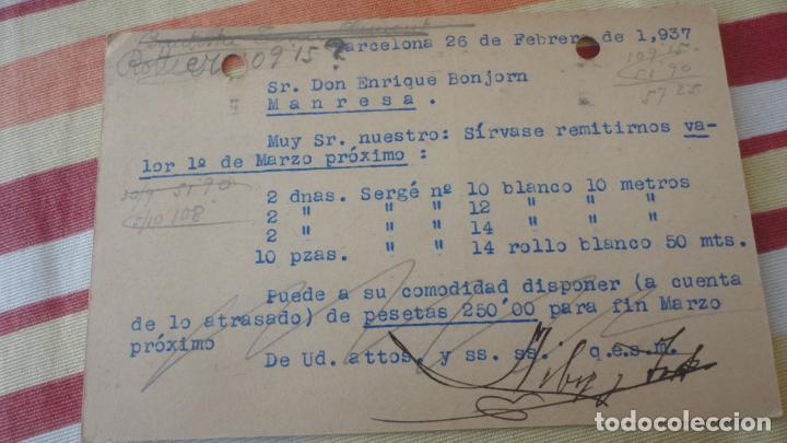 Sellos: ANTIGUA TARJETA.LLIBRE Y TORT.CINTAS SEDA.BARCELONA.COMITE CONTROL UGT CNT.BONJORN.MANRESA 1937 - Foto 2 - 194156516