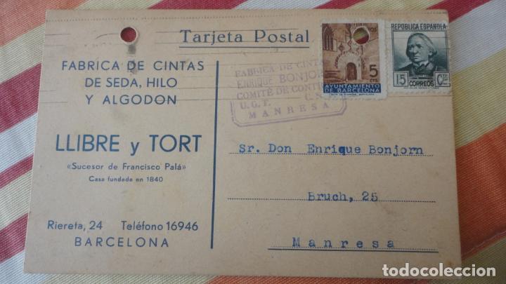 ANTIGUA TARJETA.LLIBRE Y TORT.CINTAS SEDA.BARCELONA.COMITE CONTROL UGT CNT.BONJORN.MANRESA 1937 (Sellos - España - Tarjetas)