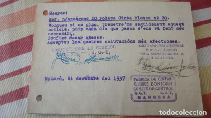 Sellos: TARJETA.JULIA GINESTA.FABRICO GENEROS PUNTO.MATARO.BONJORN.MANRESA.CONTROL OBRERO.UGT.CNT.1937 - Foto 2 - 194156790