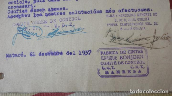 Sellos: TARJETA.JULIA GINESTA.FABRICO GENEROS PUNTO.MATARO.BONJORN.MANRESA.CONTROL OBRERO.UGT.CNT.1937 - Foto 3 - 194156790