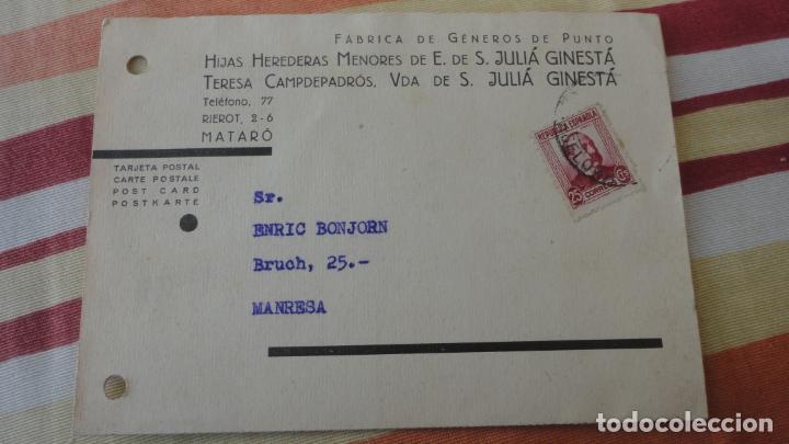 TARJETA.JULIA GINESTA.FABRICO GENEROS PUNTO.MATARO.BONJORN.MANRESA.CONTROL OBRERO.UGT.CNT.1937 (Sellos - Extranjero - Tarjetas)