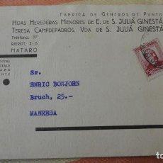 Sellos: TARJETA.JULIA GINESTA.FABRICO GENEROS PUNTO.MATARO.BONJORN.MANRESA.CONTROL OBRERO.UGT.CNT.1937. Lote 194156790