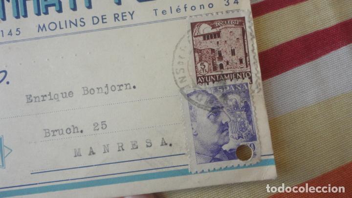 Sellos: ANTIGUA TARJETA.MANUFCTURA CORSES.MARTI-PORT S.L.MOLINS DE REY. BONJORN.MANRESA 1943 - Foto 2 - 194156967