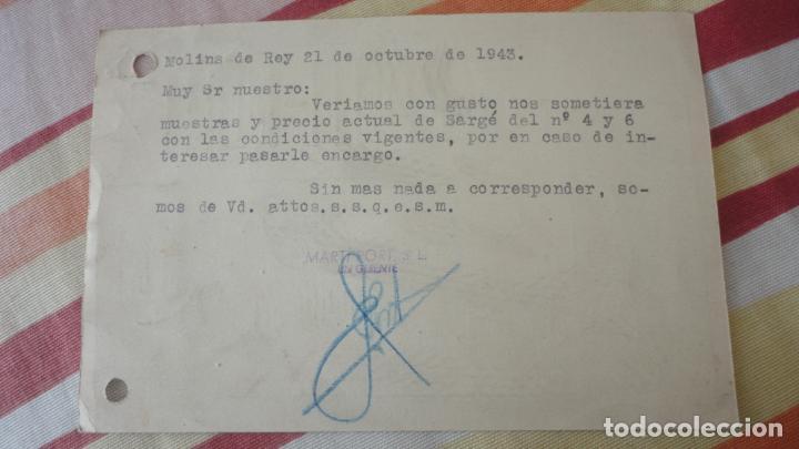 Sellos: ANTIGUA TARJETA.MANUFCTURA CORSES.MARTI-PORT S.L.MOLINS DE REY. BONJORN.MANRESA 1943 - Foto 3 - 194156967