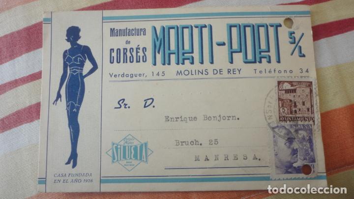 ANTIGUA TARJETA.MANUFCTURA CORSES.MARTI-PORT S.L.MOLINS DE REY. BONJORN.MANRESA 1943 (Sellos - España - Tarjetas)