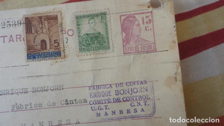 Sellos: TARJETA.GABRIEL AYXELÁ.TRANSPORTE COL-LECTIVITZATS COMITE CONTROL UGT CNT.MANRESA 1937 - Foto 2 - 194157617