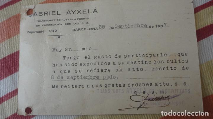 Sellos: TARJETA.GABRIEL AYXELÁ.TRANSPORTE COL-LECTIVITZATS COMITE CONTROL UGT CNT.MANRESA 1937 - Foto 3 - 194157617
